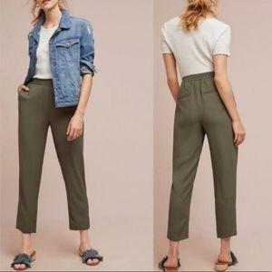 anthro   essential pull-on trouser cropped olive l